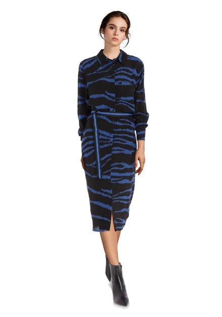 Zwarte hemdjurk met koningsblauwe print