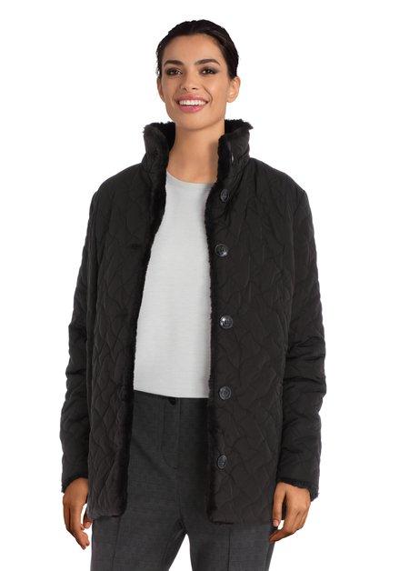 Zwarte jas met fake fur kraag