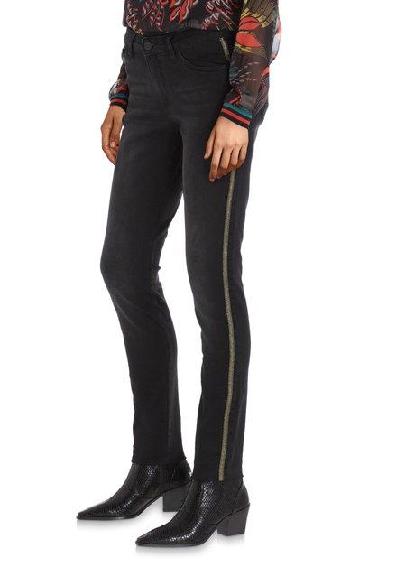 Zwarte jeans met goudkleurig biesje - slim fit