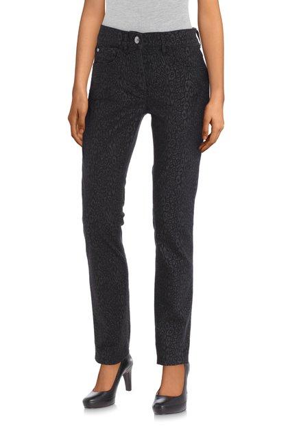 Zwarte jeans met panterprint - slim fit