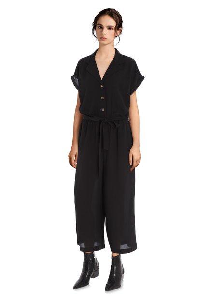 Zwarte jumpsuit met col revers
