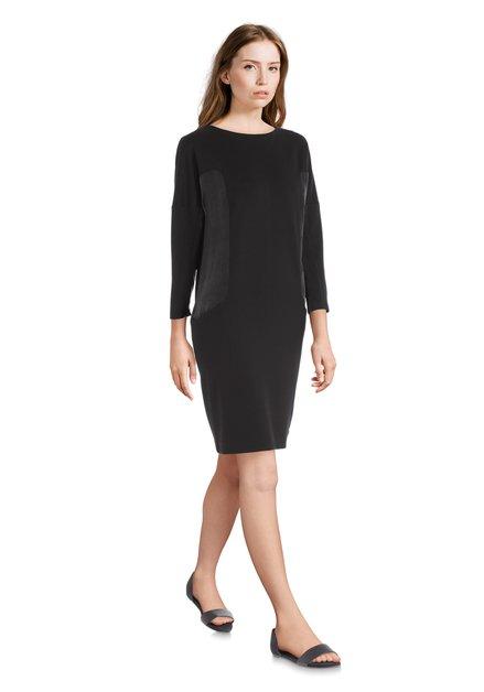 Zwarte jurk met banden in cupro