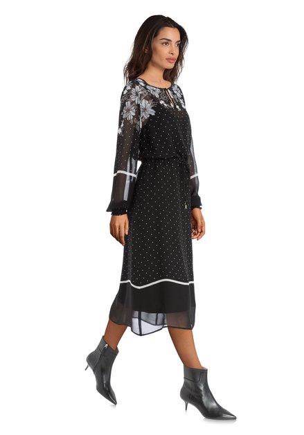 Zwarte jurk met bloemen en polkadots
