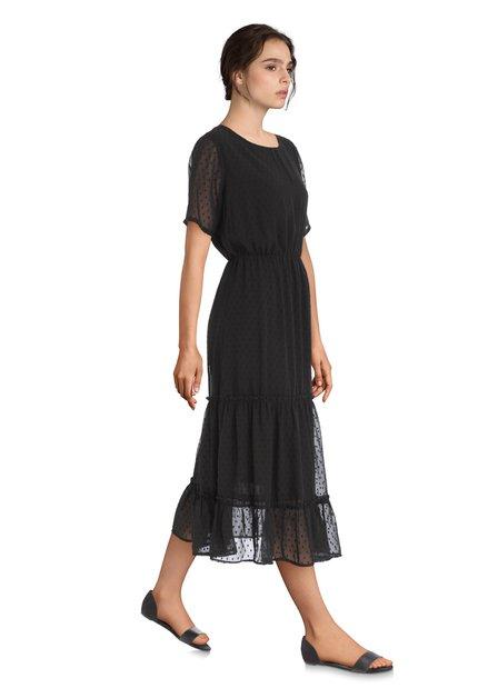 Zwarte jurk met gestructureerde stippen