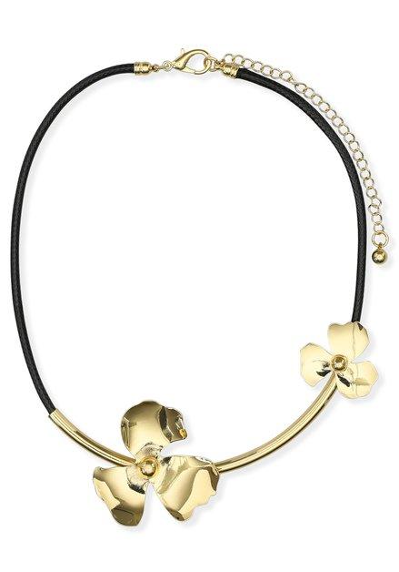 Zwarte ketting met goudkleurige bloemen