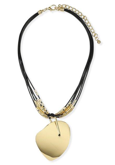Zwarte ketting met grote goudkleurige hanger