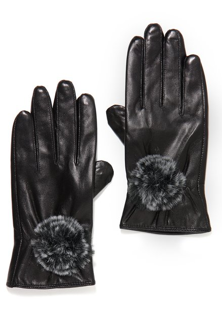 Zwarte lederen handschoenen met faux fur