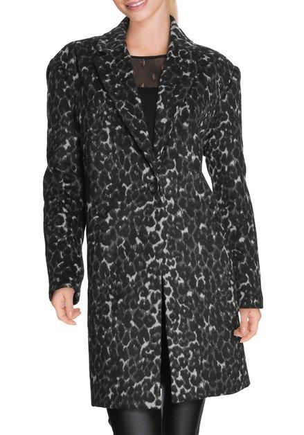 Zwarte mantel met antraciet luipaardprint