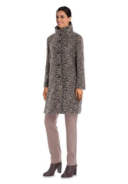 Zwarte mantel met grijs motief in wol en alpaca