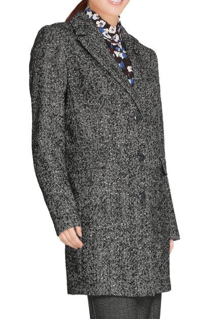Zwarte mantel met visgraatmotief