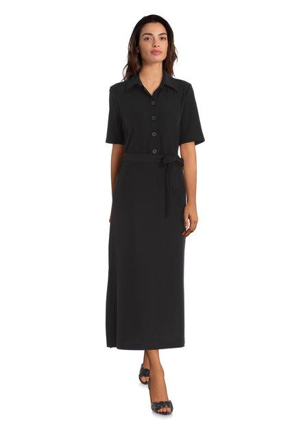 Zwarte midi-jurk met striklint