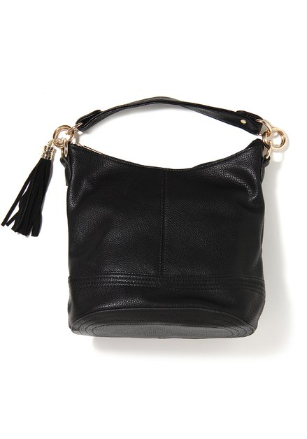 Zwarte neplederen handtas met kwastje