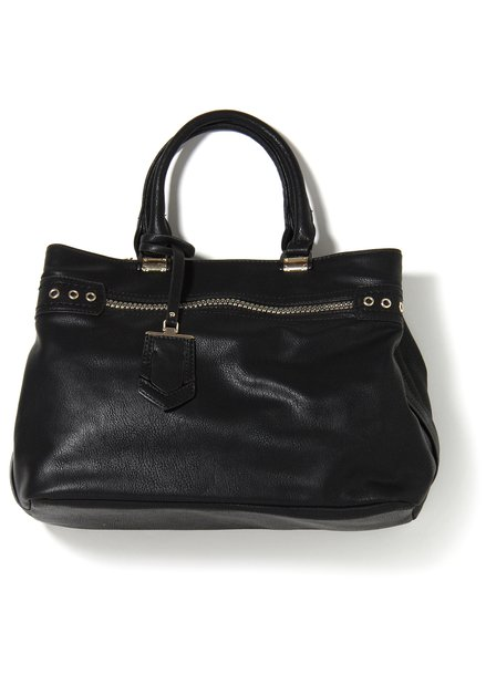 Zwarte neplederen handtas