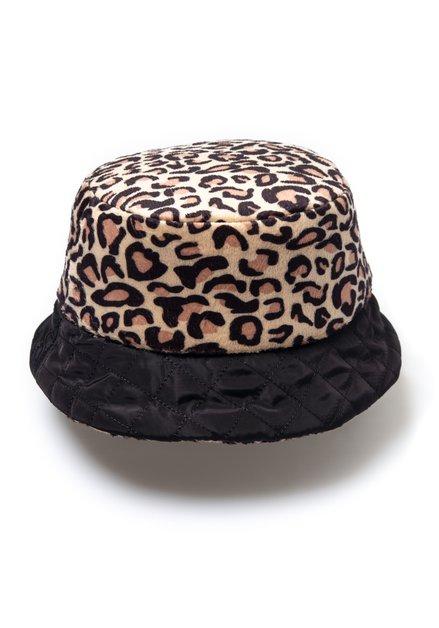 Zwarte omkeerbare hoed met panterprint