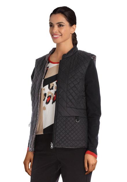 Zwarte omkeerbare mouwloze jas