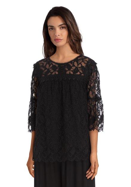 Zwarte oversized kanten blouse