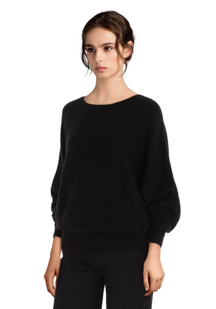 Zwarte oversized pull met wol