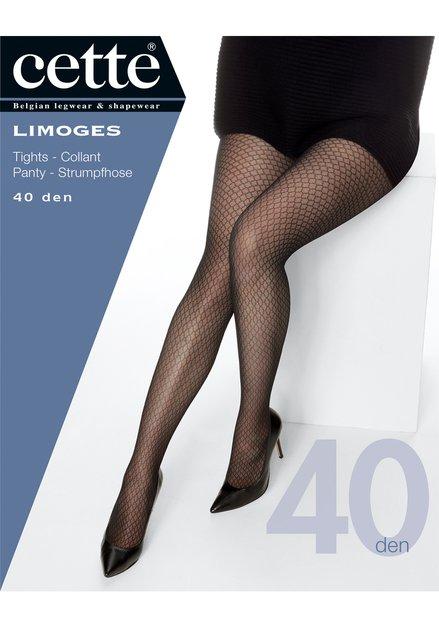 Zwarte panty met motief - Limoges - 40 den