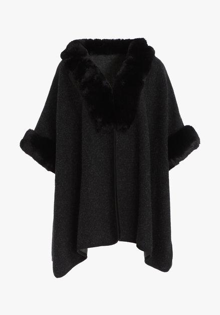 Zwarte poncho met kraag in fake fur