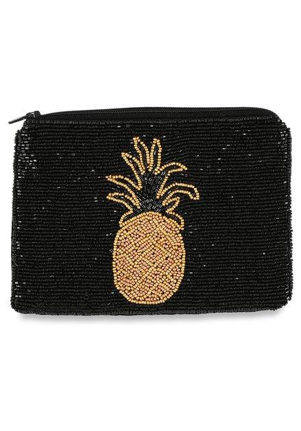 Zwarte portemonnee parels en ananas