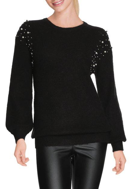 Zwarte pull met ecru parels