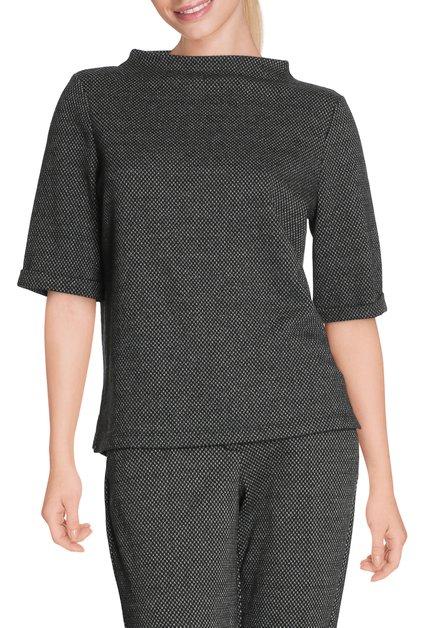 Zwarte pull met miniprint en opstaande kraag