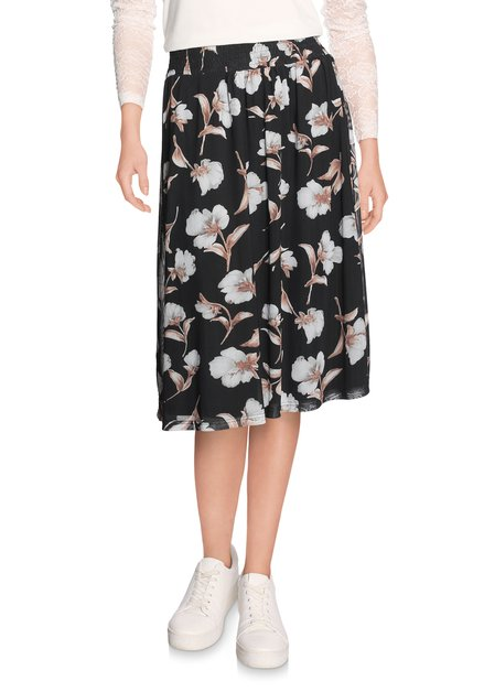 Zwarte rok in voile met lichtgrijze bloemen