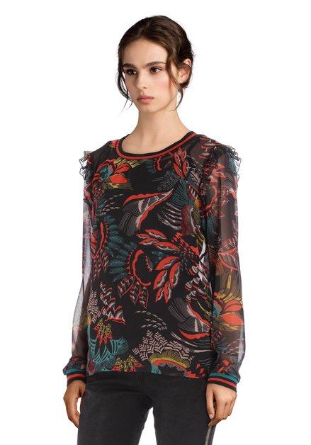Zwarte semitransparante blouse met rode print