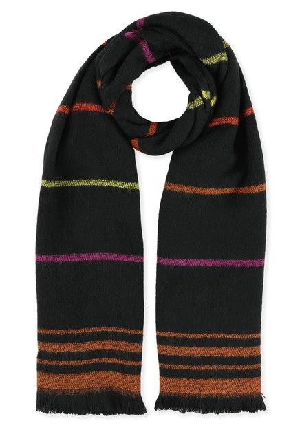 Zwarte sjaal met kleurrijke strepen