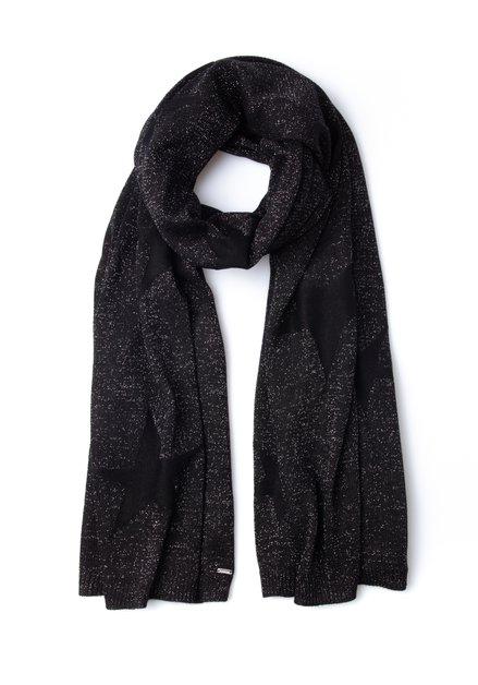 Zwarte sjaal met sterren en lurex