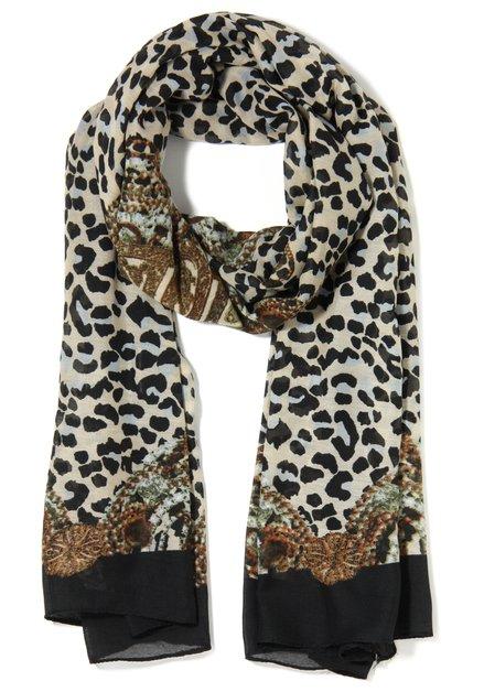 Zwarte sjaal met tijgerprint