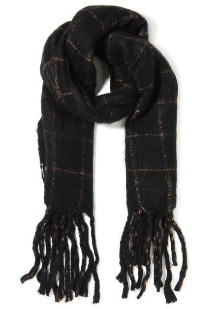 Zwarte sjaal met zandbruine ruiten