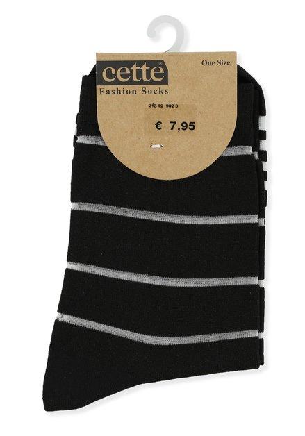 Zwarte sokken met ecru strepen