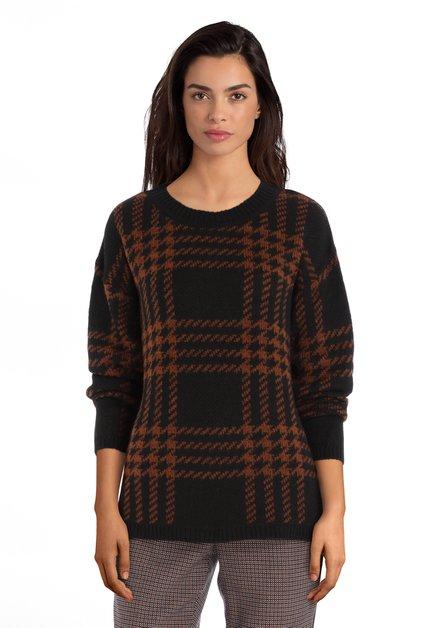 Zwarte trui met donkerbruin motief