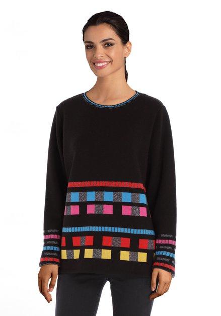 Zwarte trui met gekleurde blokjes