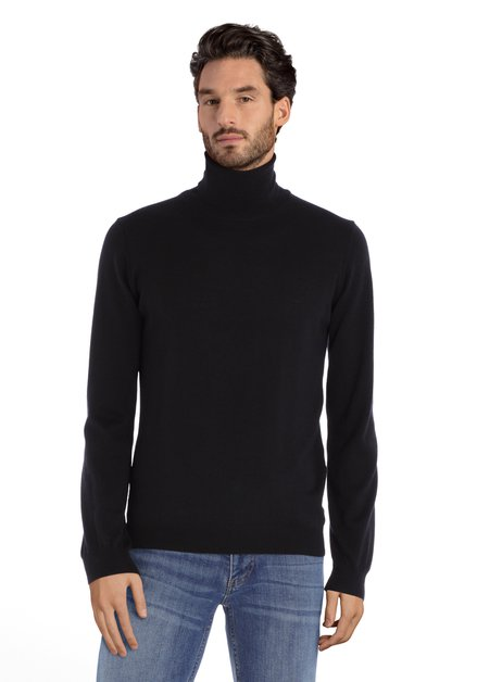 Zwarte trui met rolkraag in merinowol