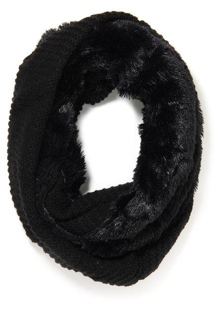 Zwarte wikkelsjaal in faux fur