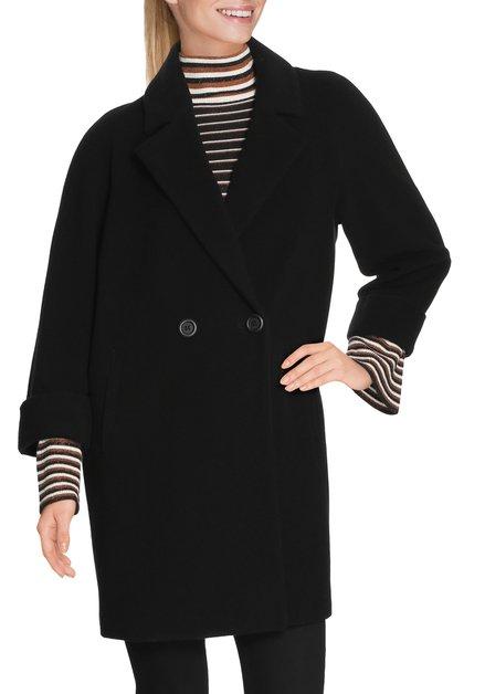 Zwarte wollen jas met col revers