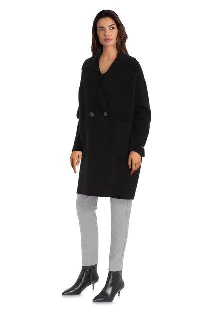 Zwarte wollen mantel met grote kraag