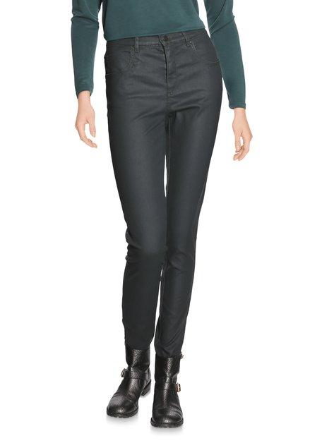 Zwartgroene broek met coating - slim fit