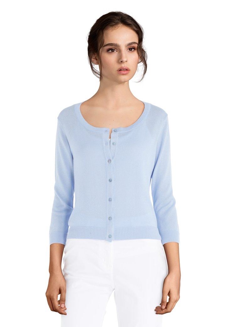 62c2cd5a87cd Cardigan court bleu clair à lurex (5190308)