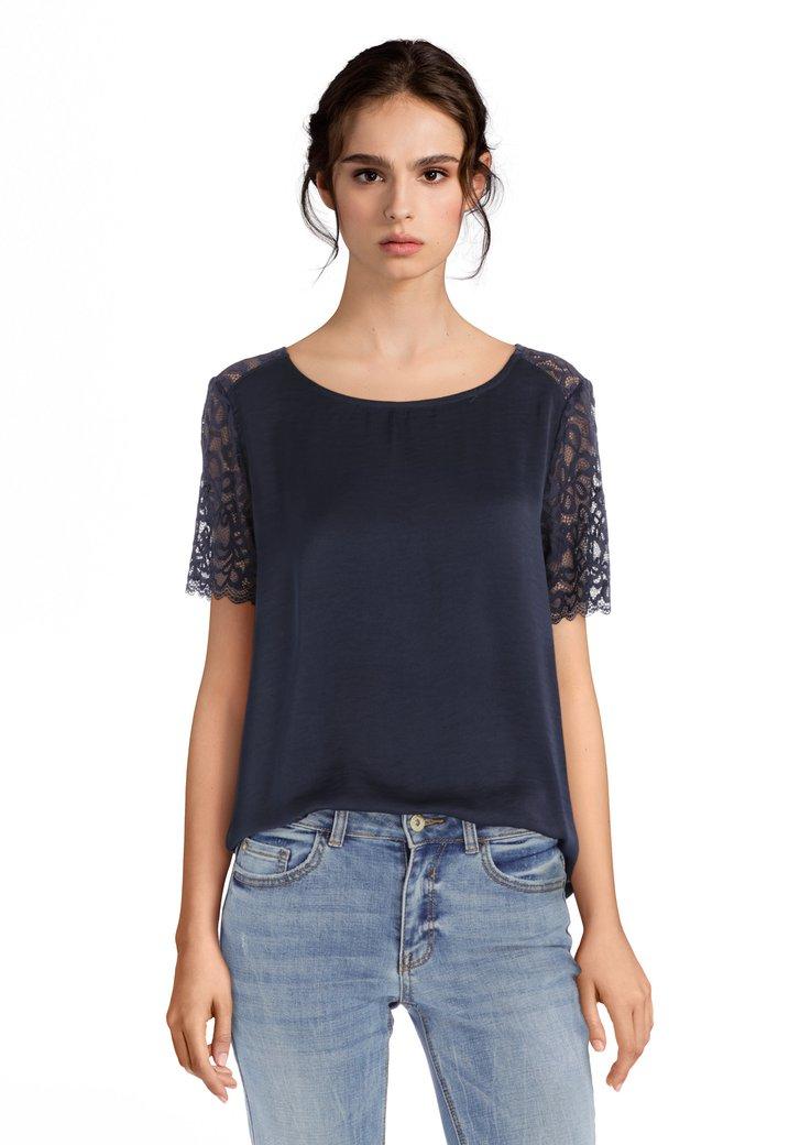 2e52e582107 Donkerblauw T-shirt met kant