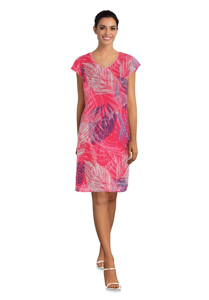 8da04a1ea083c4 Fuchsia jurk met abstracte bladerprint van Diane Laury