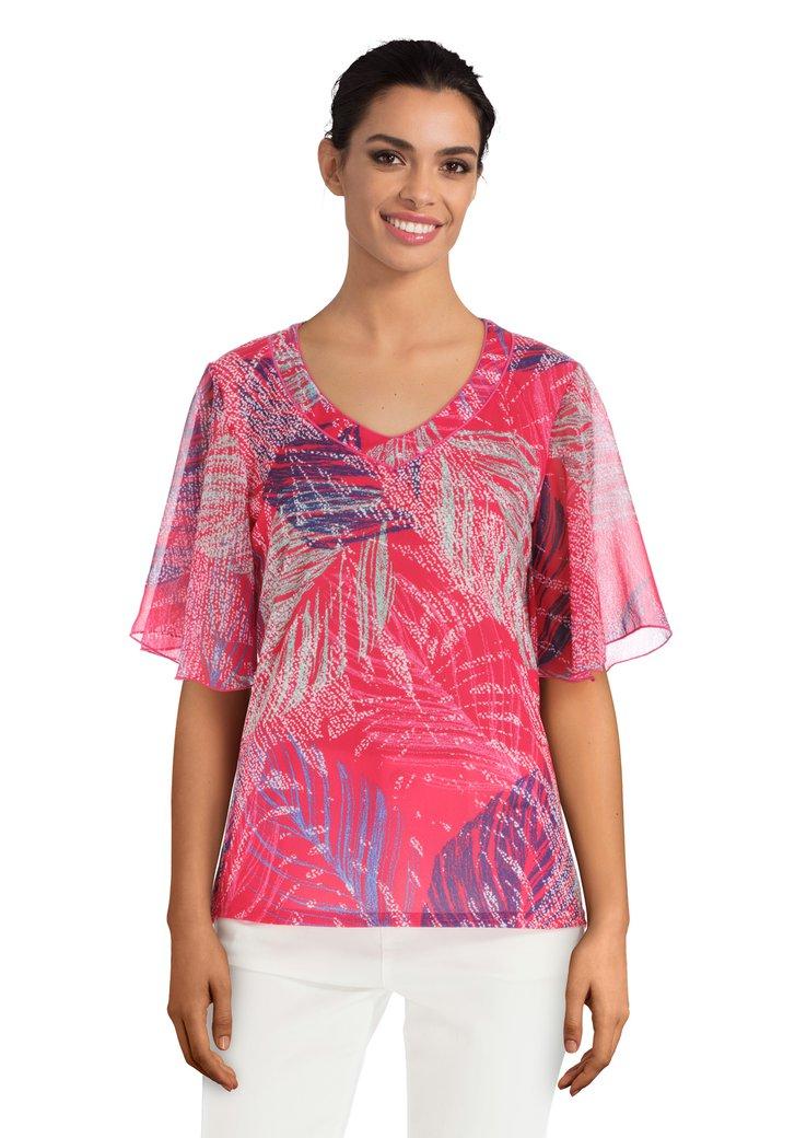 d68297ef033fda Fuchsia T-shirt met abstracte bladerprint van Diane Laury