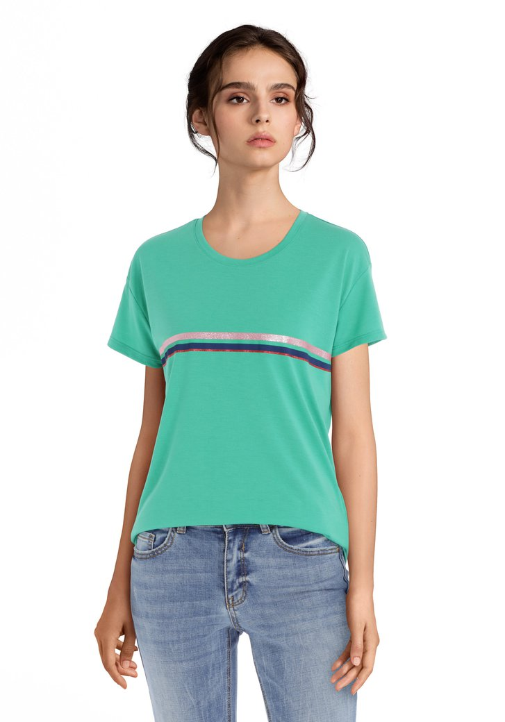 2b43b58bbc6 Groen T-shirt met strepen en glitters