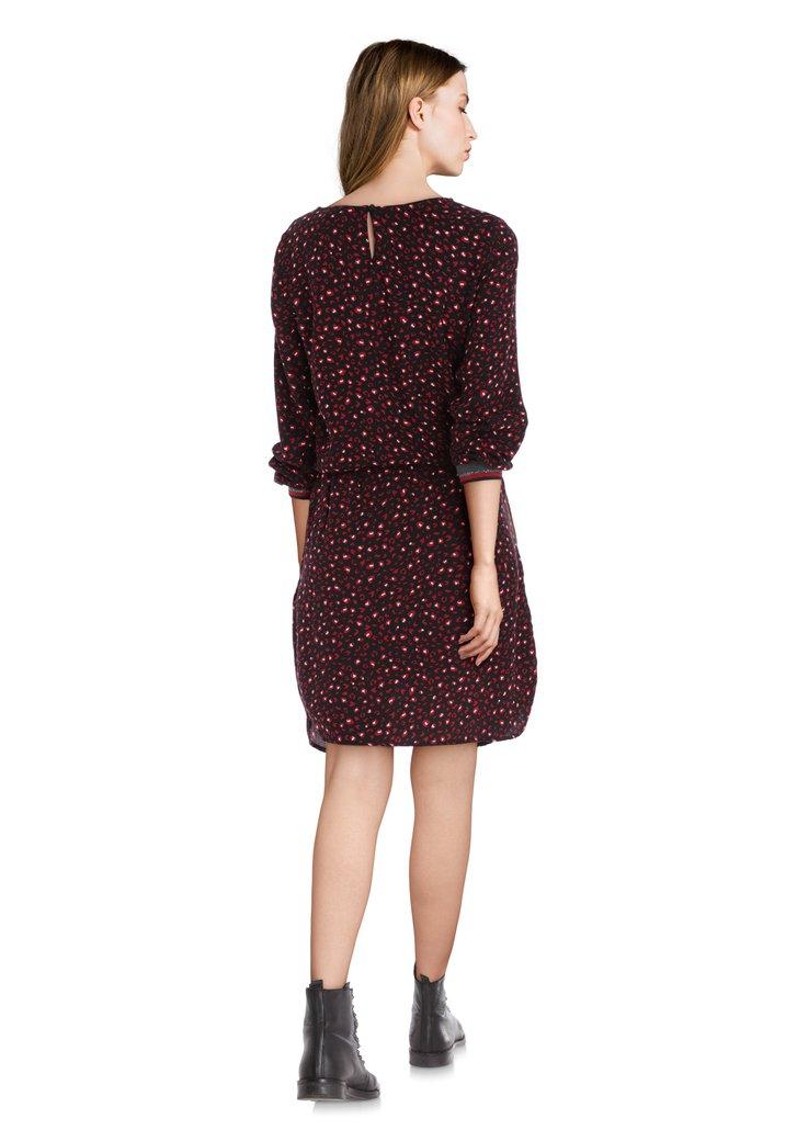 Robe Noire Avec Imprime Rouge Et Taille Elastique 4907388 E5 Mode