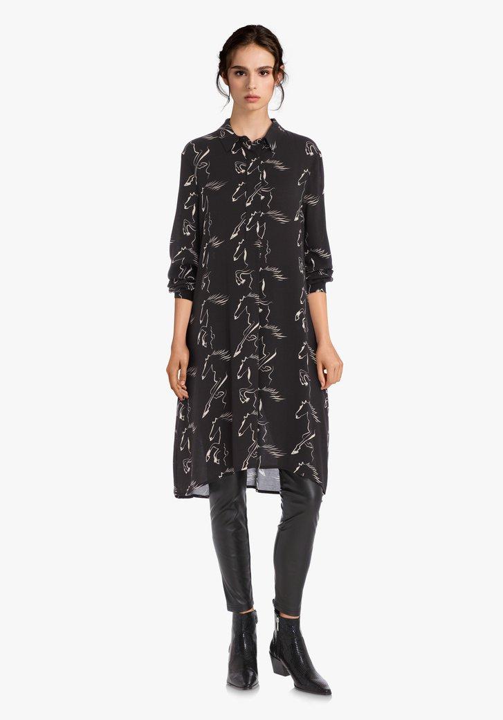 Afbeelding van Antraciet kleed met paardenprint