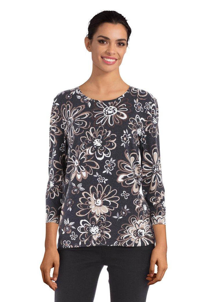 Afbeelding van Antraciet T-shirt met bruine bloemen
