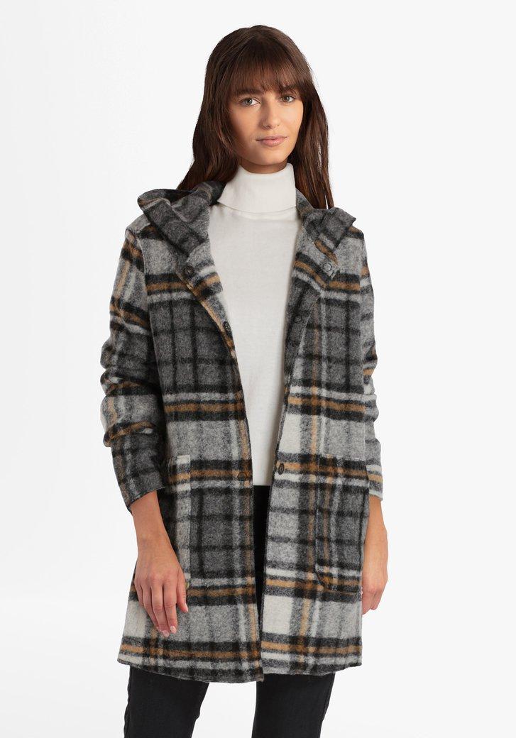 Afbeelding van Antraciet wollen mantel met mosterdgeel accent