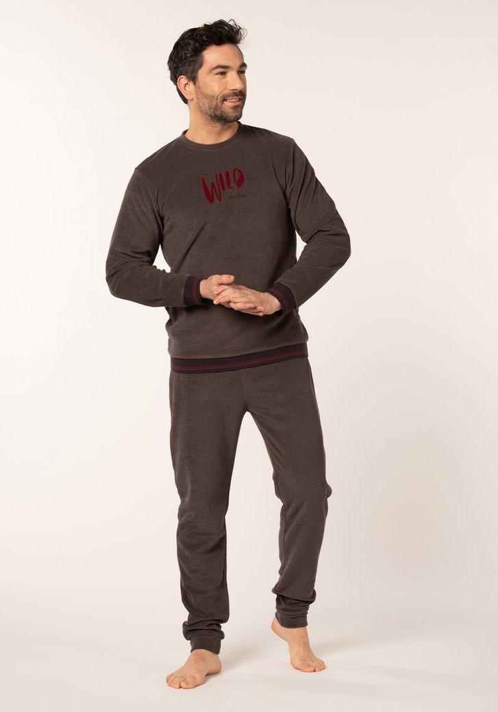 Antracietkleurige pyjama met opschrift